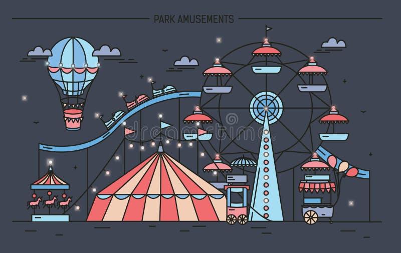 Horizontale banner met pretpark Het circus, ferris rijdt, aantrekkelijkheden, zijaanzicht met aerostaat in lucht Kleurrijke lijn vector illustratie