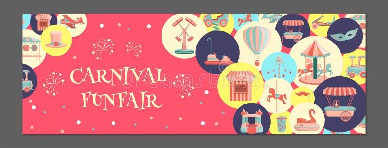Horizontale banner met pretparkpictogrammen in gekleurde cirkels royalty-vrije illustratie