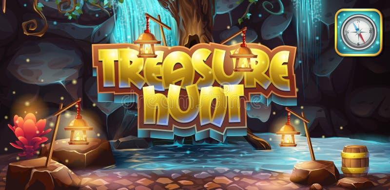 Horizontale banner, pictogram aan de de schatjacht van het computerspel royalty-vrije illustratie