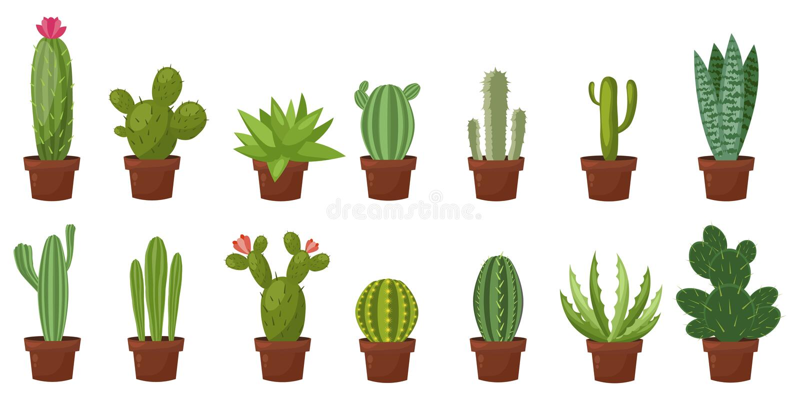 Horizontale bannerreeks van woestijn, ruimte groene cactus Vlakke, beeldverhaalstijl Vectorillustratie witte achtergrond Elemente stock illustratie