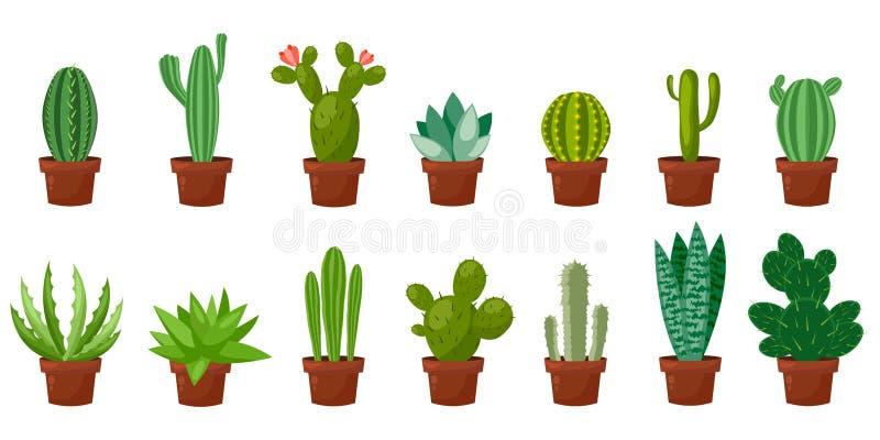 Horizontale bannerreeks van woestijn, ruimte groene cactus Vlakke, beeldverhaalstijl Vectorillustratie witte achtergrond element royalty-vrije illustratie