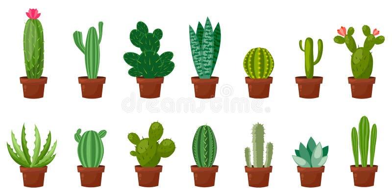 Horizontale bannerreeks van woestijn, ruimte groene cactus Vlakke, beeldverhaalstijl Vectorillustratie witte achtergrond element vector illustratie