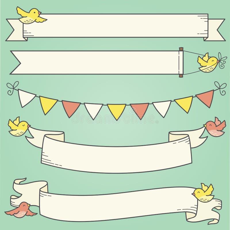 Horizontale Banners en Vogels royalty-vrije illustratie
