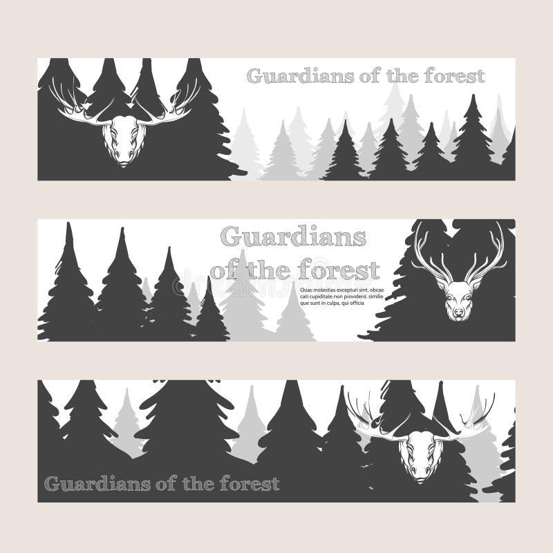 Horizontale banners met bos en herten royalty-vrije illustratie