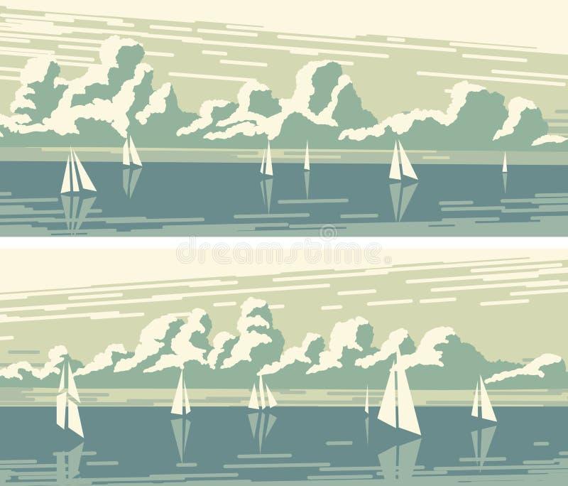 Horizontale banners met zeilboten en cumuluswolken royalty-vrije illustratie