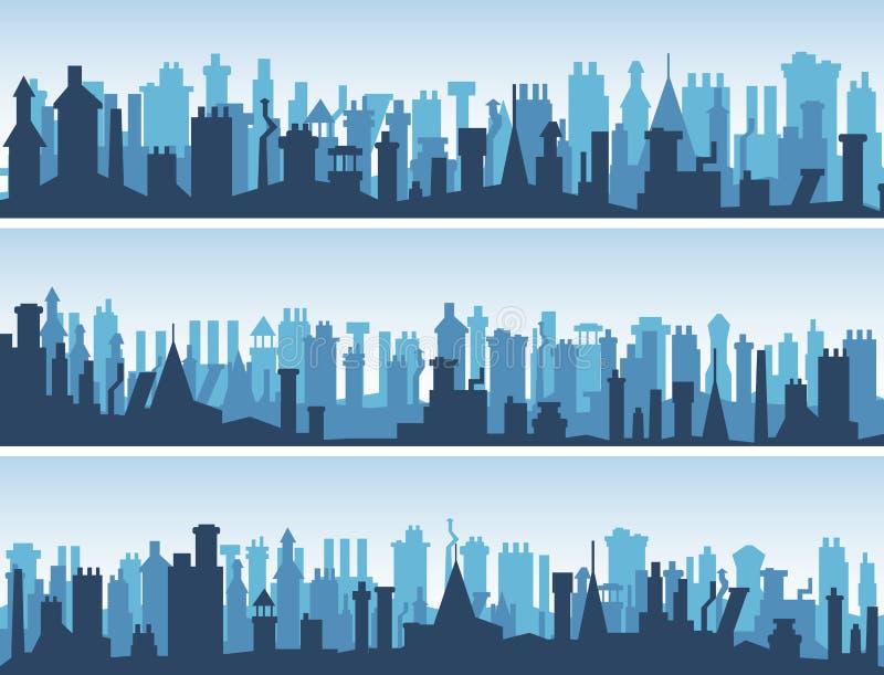 Horizontale banners van daken met schoorstenen. stock illustratie