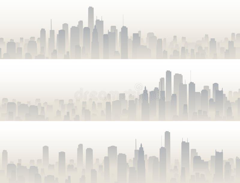 Horizontale banners van grote stad in nevel royalty-vrije illustratie