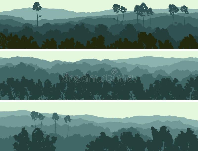 Horizontale banners van heuvels vergankelijk hout. stock illustratie