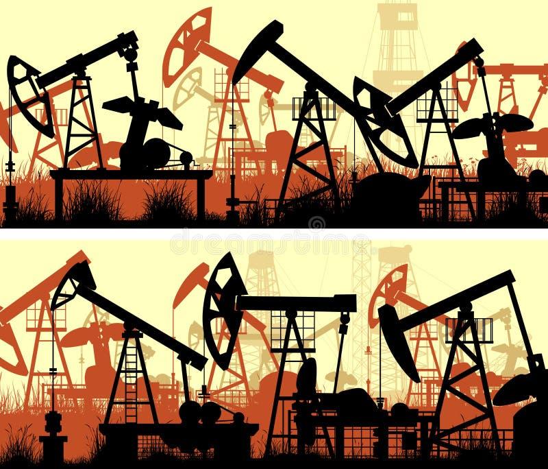Horizontale banners van illustratie met eenheden voor de olieindustrie royalty-vrije illustratie