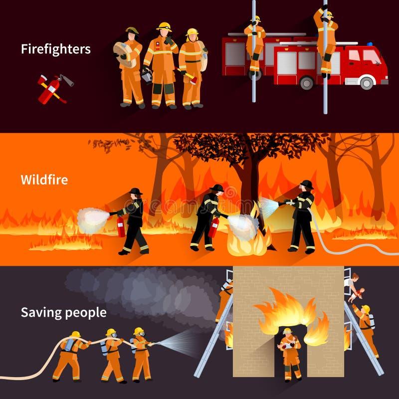 Horizontale Brandbestrijder People Banners Set vector illustratie