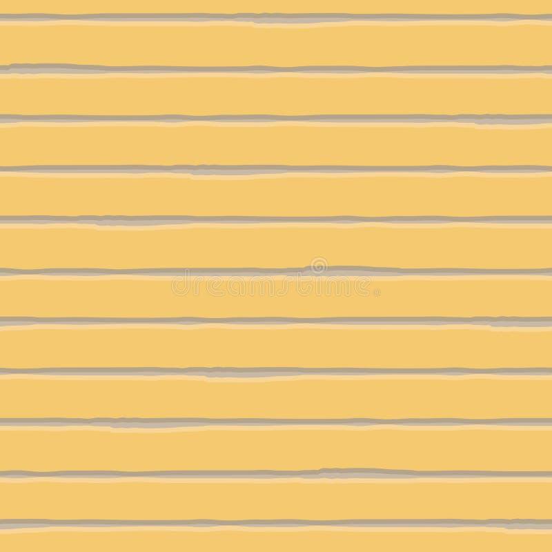 Horizontale bruine watercolour en room gestreept geometrisch ontwerp Naadloos vectorpatroon op gele achtergrond Groot voor stock illustratie