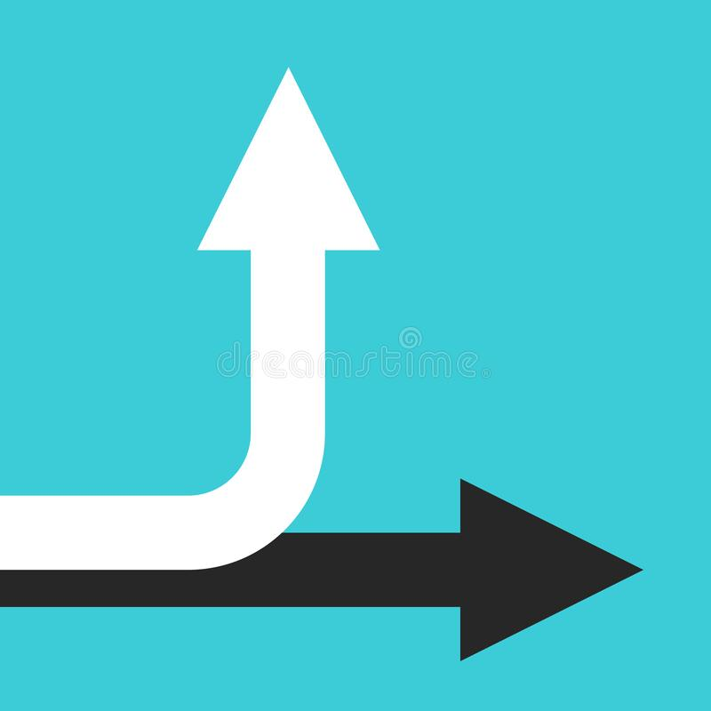 Horizontale, buigende verticale pijlen stock illustratie
