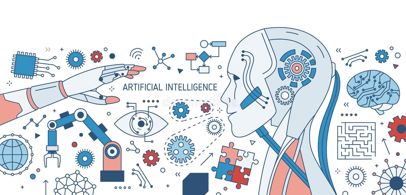Horizontale bunte Fahne mit Roboter oder dem androiden, Roboterarm, den innovativen elektronischen Geräten und den Gangrädern auf lizenzfreie abbildung