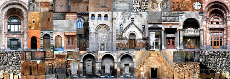 Horizontale Collagenarchitektur Armenien stockfotos