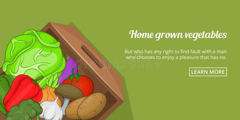 Horizontale de banner van huisgroenten, beeldverhaalstijl vector illustratie