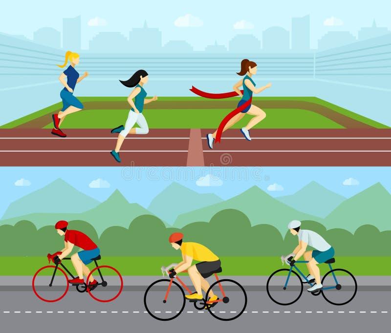 Horizontale de Bannerreeks van de mensensport vector illustratie