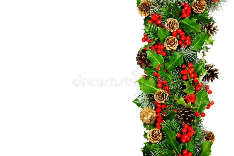Horizontale de hulstgrens van Kerstmis stock afbeelding
