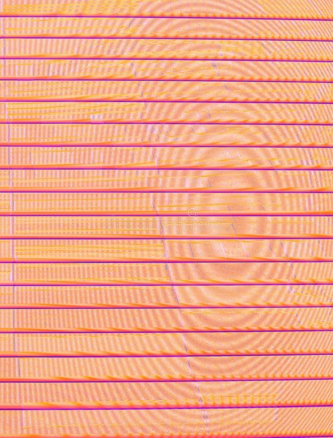 Horizontale Dunkelheit - Orange - purpurrote Streifen auf dem ungleichen Hintergrund von konzentrischen Kreisen lizenzfreies stockfoto