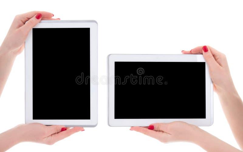 Horizontale en verticale mening van moderne tabletpc met leeg exemplaar stock foto's