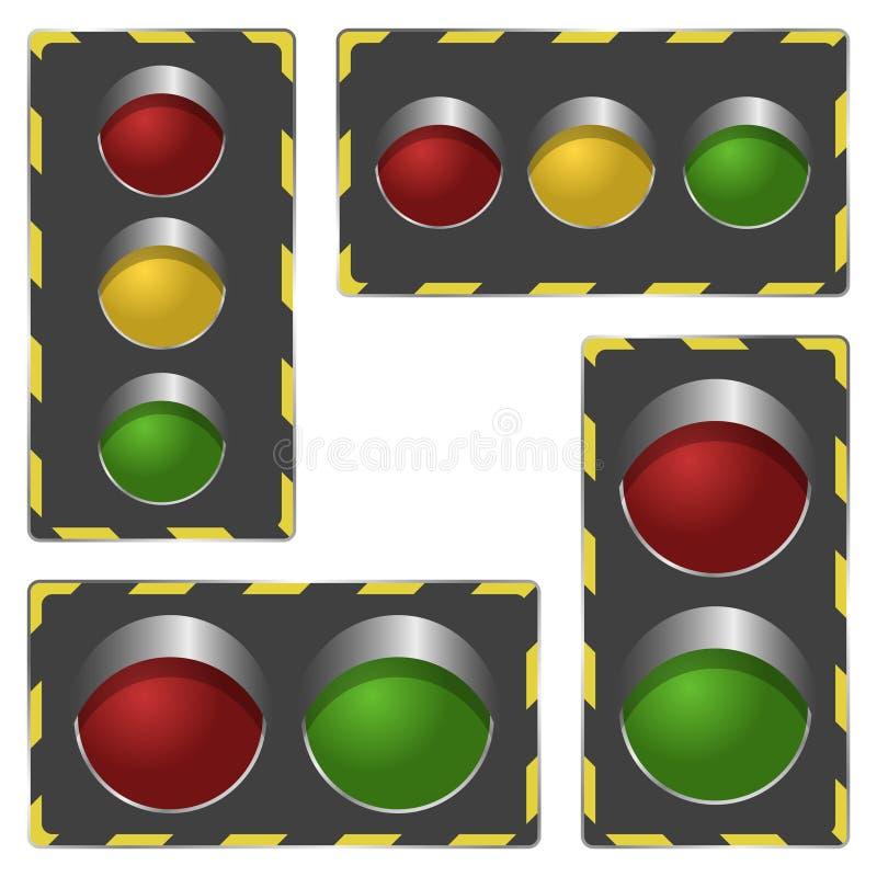 Horizontale en verticale verkeerslichten Two-section en drie-sectie type die het signaalkader gebruiken Geïsoleerde vector  royalty-vrije illustratie