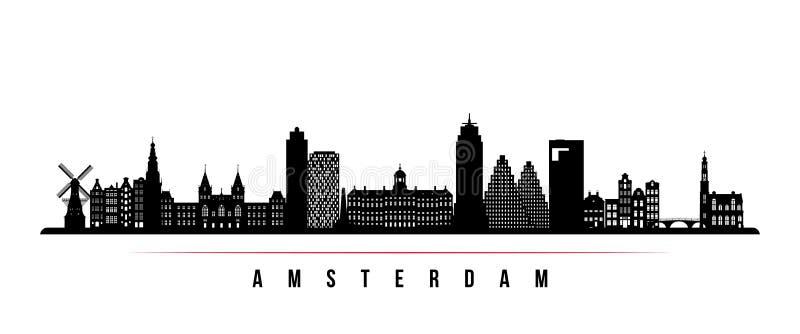 Horizontale Fahne der Amsterdam-Stadtskyline stock abbildung