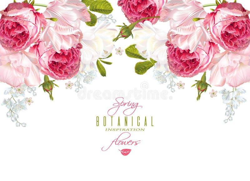 Horizontale Fahne der romantischen Blumen vektor abbildung
