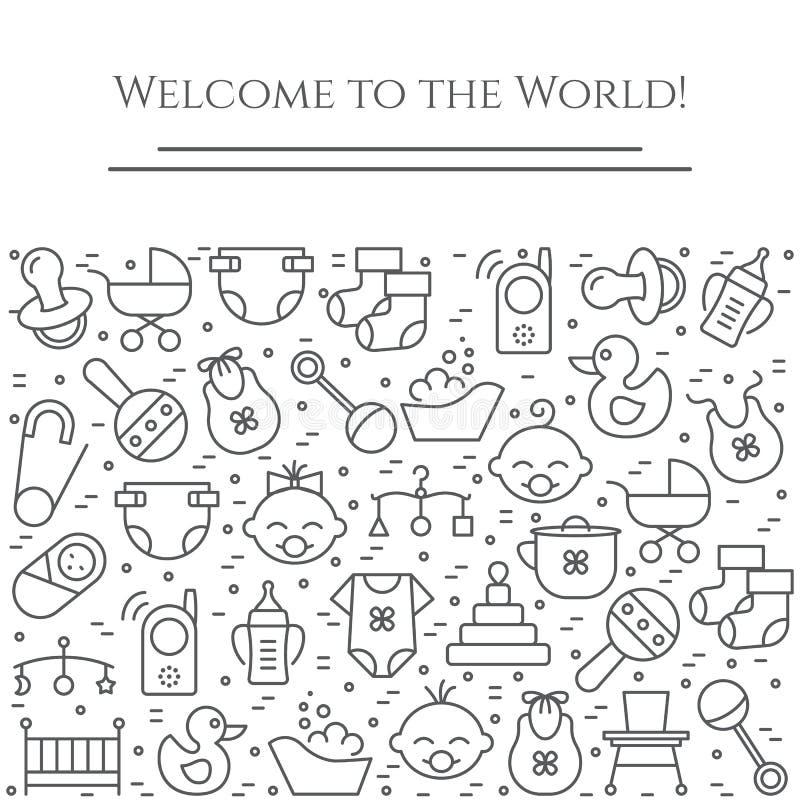 Horizontale Fahne des Babythemas Piktogramme des Babys, des Pram, der Krippe, des Mobiles, der Spielwaren, des Geklappers, der Fl vektor abbildung