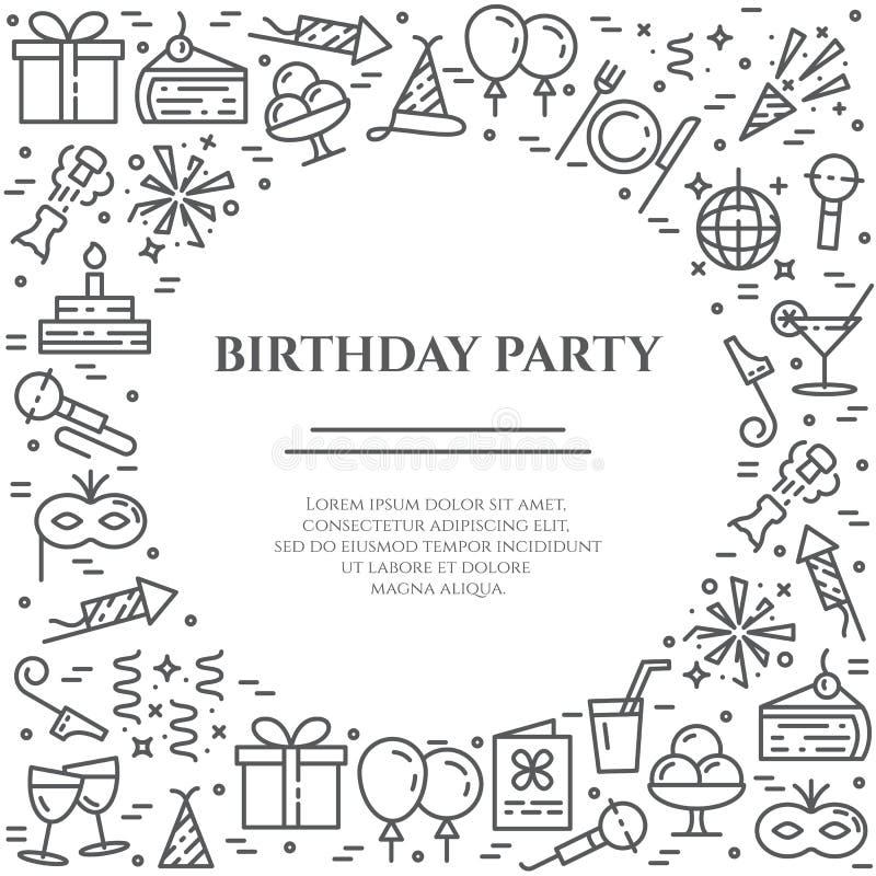 Horizontale Fahne des Geburtstagsfeierthemas Satz Elemente des Kuchens, des Geschenkes, des Champagners, der Disco, des Feuerwerk lizenzfreie abbildung