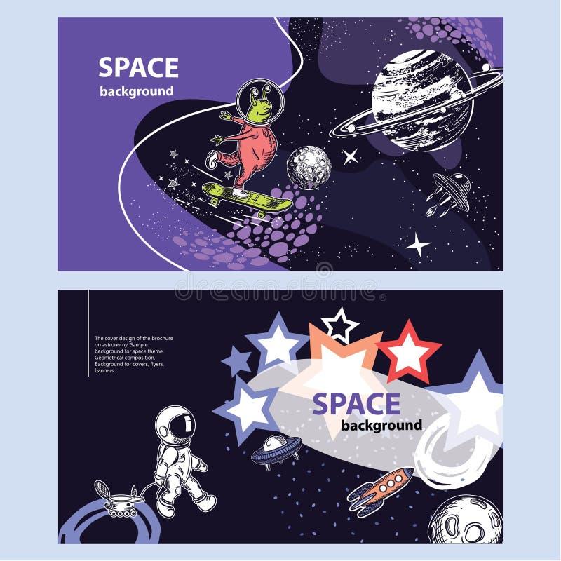 Horizontale Fahne des Raumthemas geometrische Zusammensetzung Hintergrund für Abdeckungen, Flieger, Fahnen lizenzfreie abbildung