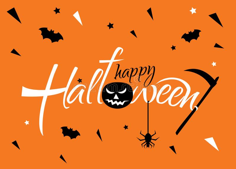 Horizontale Fahne für eine Halloween-Partei auf einem Leuchtorange backg vektor abbildung