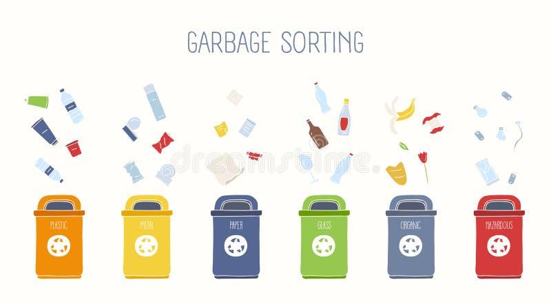 Horizontale Fahne mit Abfallbehältern und verschiedenen Arten des Abfalls auf weißem Hintergrund - Plastik, Metall, Glas, Papier stock abbildung