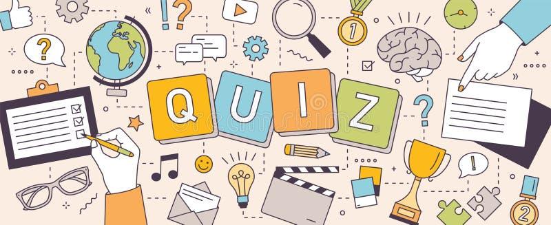 Horizontale Fahne mit den Händen von den Leuten, die Puzzlespiele lösen oder von Gehirnharten nüssen und Quizfragen, die beantwor stock abbildung
