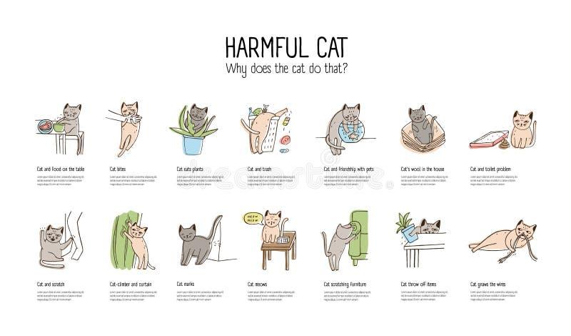 Horizontale Fahne mit der frechen Katze, die verschiedene Sachen tut - Lebensmittel stehlend, Möbel verkratzend, Zerfressendrähte stock abbildung