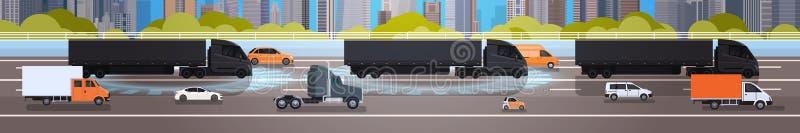 Horizontale Fahne mit schwarzen Fracht-LKW-Anhängern auf Landstraßen-Straße mit Lorry And Cars Over City-Hintergrund-Konzept vektor abbildung