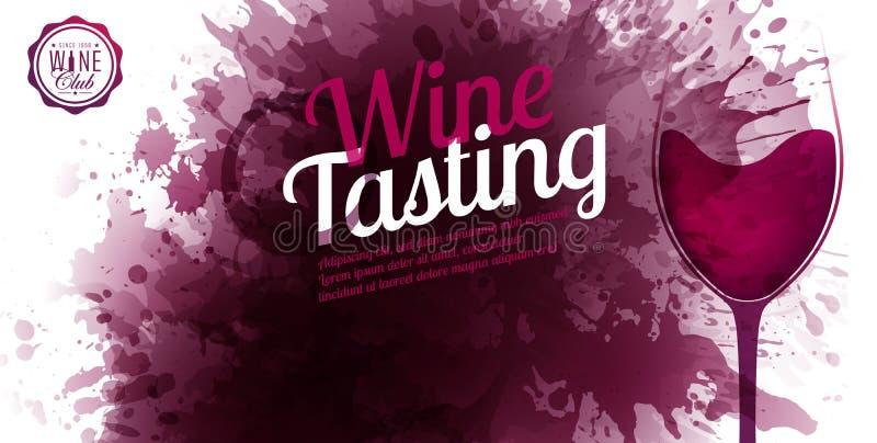 Horizontale Fahne mit Weinfleckhintergrund Weinprobetextbeispiel Weinglasillustration Vektorstellen und -tropfen stock abbildung