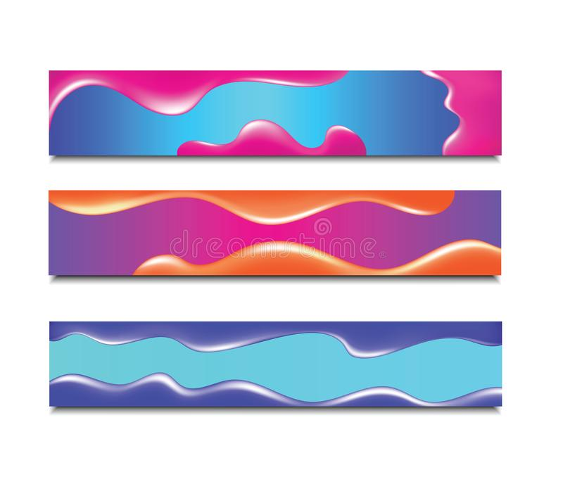 Horizontale Fahne Moderner abstrakter Hintergrund Bunte flüssige Neonabdeckung für Plakat, Flieger und Darstellung Steigung ganz  lizenzfreie abbildung