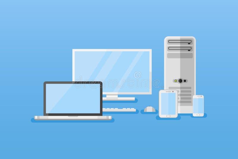 Horizontale Fahnen der elektronischen Geräte Computer, Tabletten-PC, Laptop, intelligentes Telefon lizenzfreie abbildung