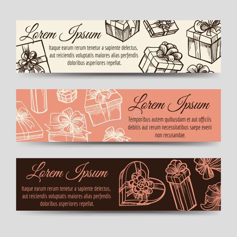 Horizontale Fahnen der Weinlese mit Geschenkboxen vektor abbildung