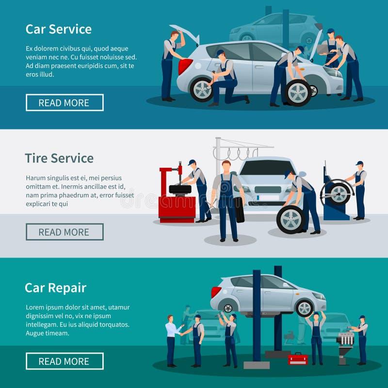 Horizontale Fahnen des Auto-Services stock abbildung