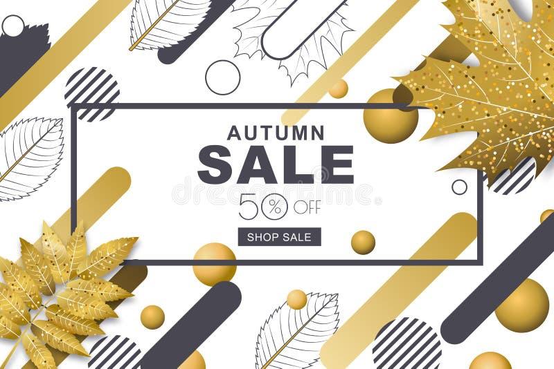 Horizontale Fahnen des Herbstverkaufs mit 3d reden Gold- und Entwurfsfallblätter und geometrische Formen der Bewegung an vektor abbildung