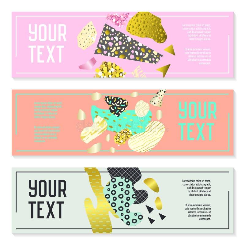 Horizontale Fahnen eingestellt mit Goldfunkeln-geometrischen Elementen Plakat-Einladungs-Beleg-Broschüren-Schablonen Abstrakte Ka stock abbildung