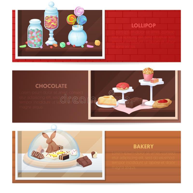 Horizontale Fahnen mit Bonbon-Lebensmittel - Bäckerei, Süßigkeit und Schokolade vektor abbildung