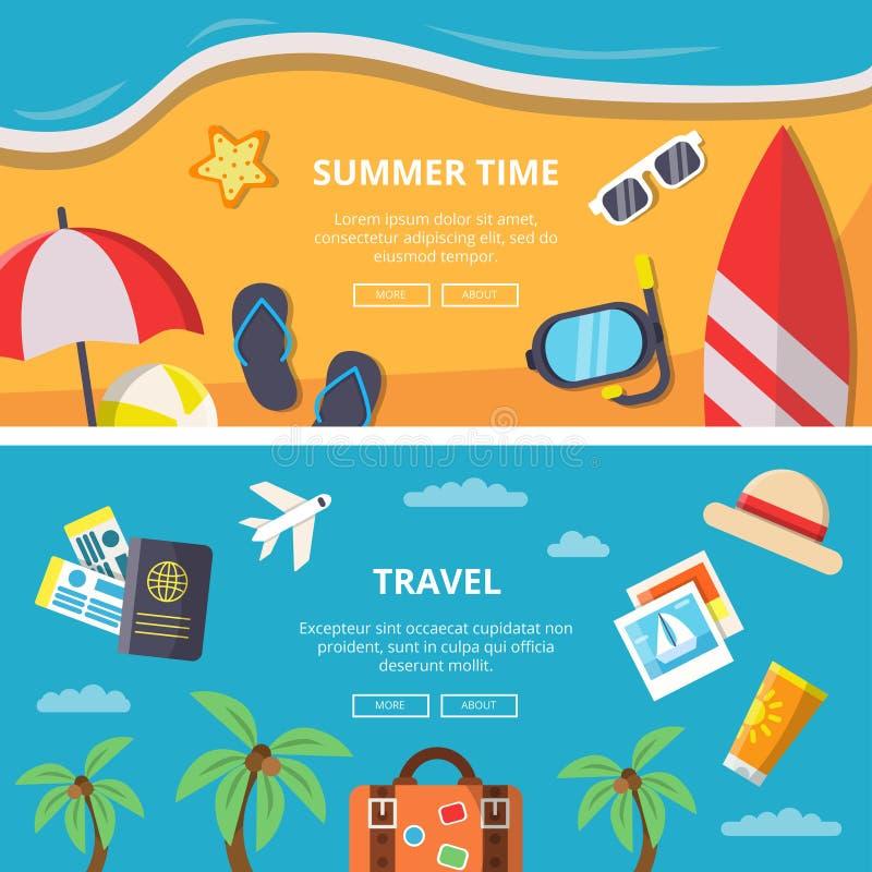 Horizontale Fahnen mit Sommerzeitbildern und Reisesymbolen vektor abbildung