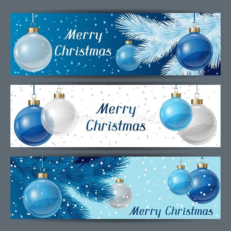 Horizontale Fahnenschablone des Feiertags mit Weihnachten vektor abbildung