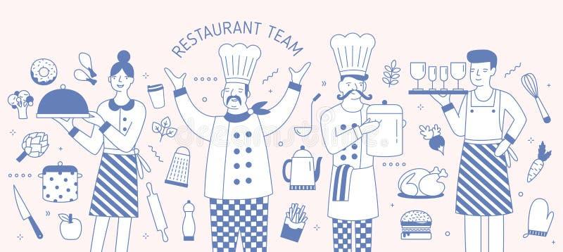 Horizontale Fahnenschablone mit dem Leiter, Koch, Kellner und Kellnerin, die durch Nahrungsmittel umgeben werden und Werkzeuge ge lizenzfreie abbildung