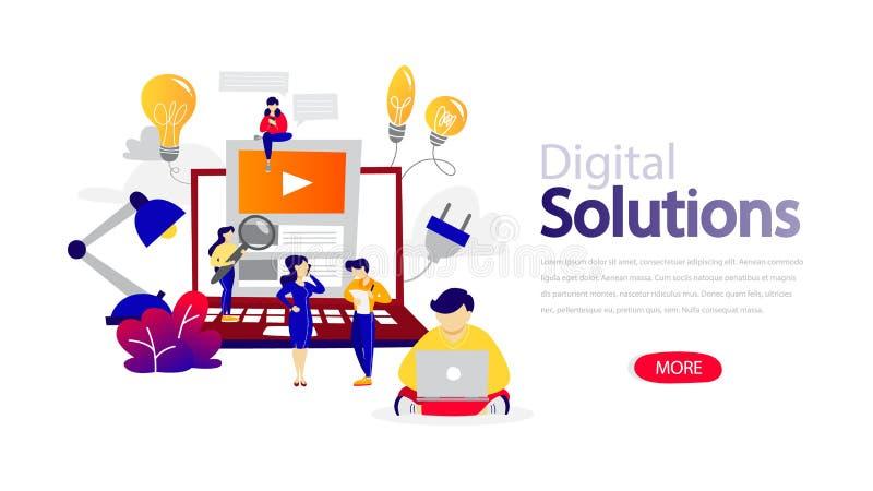 Horizontale flache Fahne Digital-Lösungen für Website lizenzfreie abbildung