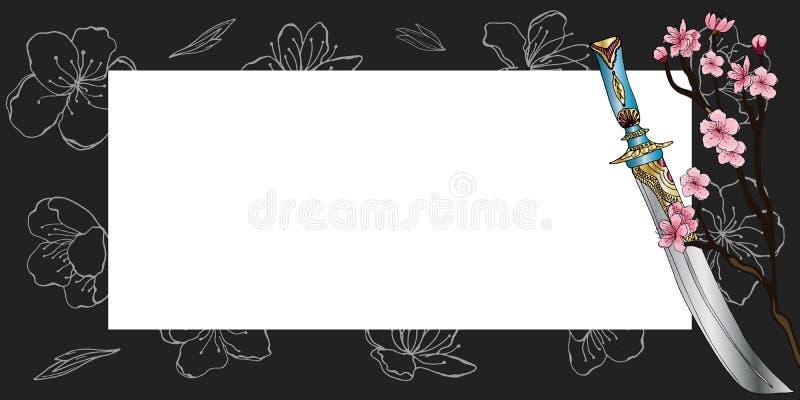 Horizontale Frühlingsfahne in der orientalischen Art stock abbildung