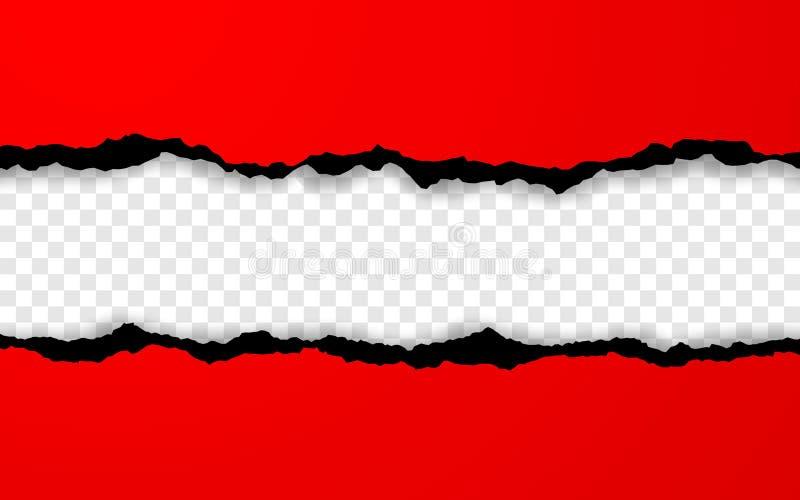 Horizontale gescheurde document rand Gescheurde geregelde horizontale rode document stroken Vector illustratie vector illustratie