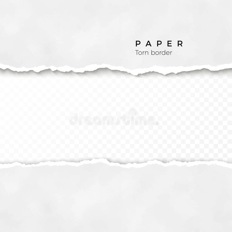 Horizontale gescheurde document rand Gerimpelde (document) textuur Ruwe gebroken grens van document streep Vector illustratie royalty-vrije illustratie