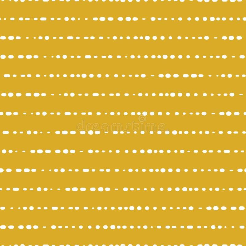 Horizontale gestippelde lijnen naadloze vectorachtergrond Witte Punten op Gouden Achtergrond Het ontwerp van het Aabstractpatroon vector illustratie